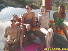 Party babes enjoy orgy