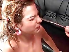 Guy fucking and pissing on young beauty