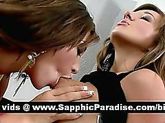 Cute brunette lesbians kissing and licking nipples and having lesbian love