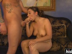 Young Stephanie has fun with a big pecker