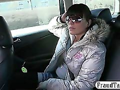 Amateur fucked at the backseat by driver for a taxi fare