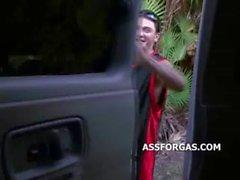 Amateur blonde teen blowjob in a van