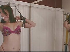 Cute brunette in floral underwear gets restrained with ropes in front of mirror