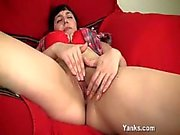 Busty amateur babe Sandy fingering herself in solo