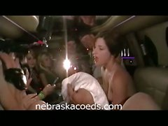 Hot drunk college babe naked and sucking lollipop in limo
