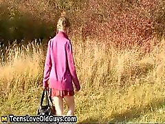 Teen girl on a hike outdoor strips fully part3