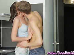 Teenage babe anal fucks