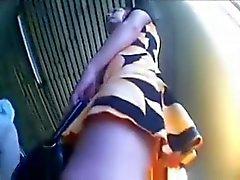 Teen upskirt and thong