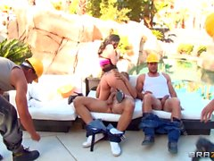 Hailey Young has wild gang bang outdoor