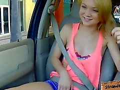 Cute small tits blondie teen Dakota fucked in the backseat