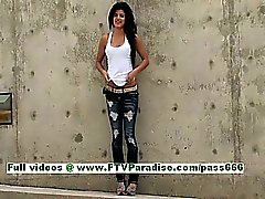 Trisha cute brunette babe public flashing tits and having fun