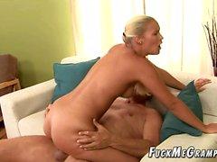 Blonde 19yo Cristin with her 65yo mate