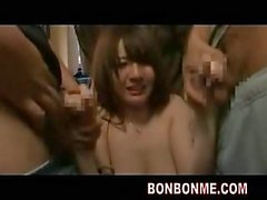 Jap teen group hardcore scene in a bus