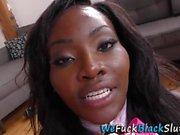 Ebony babe gangbanged
