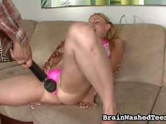 Tiffany Flowers pleases her self while getting dildoed