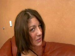Young sexy european chick pussy pounded on the couch