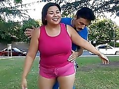 Huge asian chubby teen jumping on a big penis