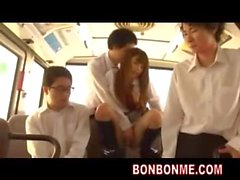 Cute schoolgirl seduced and fucked by boy classmate on bus