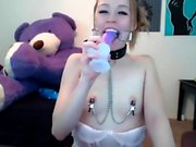Dildo nipple clamps - Watch Part 2 on HornyLiveTeens com