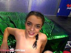 Tiny 18 year old Teen Khadisha Latina gets her mouth full of sperm