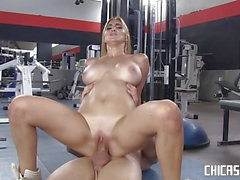 Busty Latina fucked at the gym