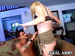 Sexy army slut in fishnets Hayley Rivers gets ass fucked