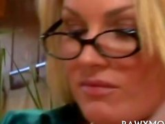 Blonde milf Porn Star sucks after getting licked out
