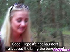 European lesbian teens outdoors licking pussy