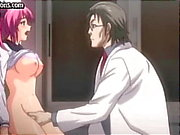Busty young animated redhead gets probed and fingered by the nasty doctor