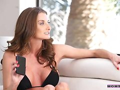 Silvia Saige and Aria Alexander take turns blowing and