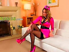 Purple stockings and shoes on ultra hot