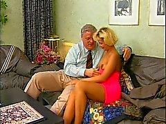 Cute blonde girl sucks old guy's cock and fucks him