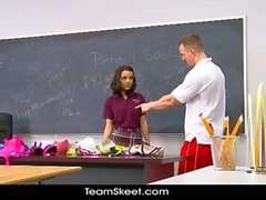 Schoolgirl brunette humps coach