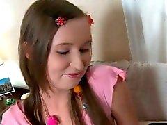 Horny schoolgirl gets her paties wet