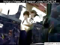 Asian Schoolgirl Hot Handjob in Bus