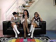 British milf spanks naughty dyke schoolgirls