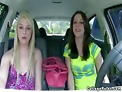 Busty brunette and blonde college girls in wild fuck and suck party