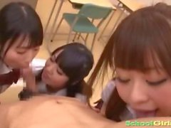 3 Schoolgirls Sucking Guy Cock Giving Handjob Splitting Semen In The Classroo