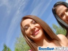 Spermswap hotties share cumshots in this scene