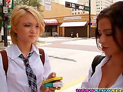 Ultra hot lesbian schoolgirl teens Dakota Skye and Adrinna Lynn make out