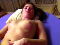 brunette young miriam gives a blowjob and masturbates