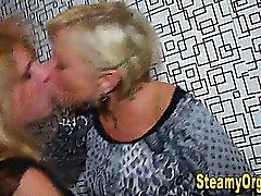 Teen lesbians kissing at party