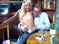 Nasty blonde slut gets horny sucking