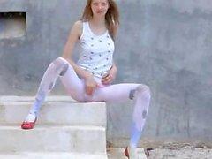 Luxury peening of super bony girl