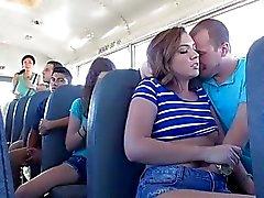 Maddy takes a head inside school bus