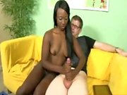 Black nubian teen jerking a long boner