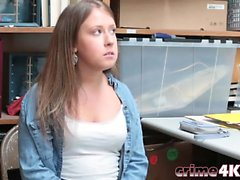 Curvy teen banged in the back office