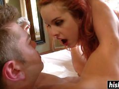 Redhead Amarna gets surprised with a dick