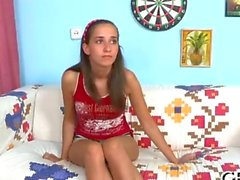 Raunchy threesome drilling features a skinny teen