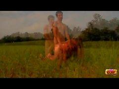 Hardcore teen sex in a grassy field